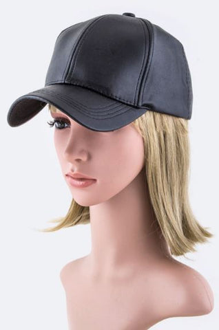 faux leather black hat