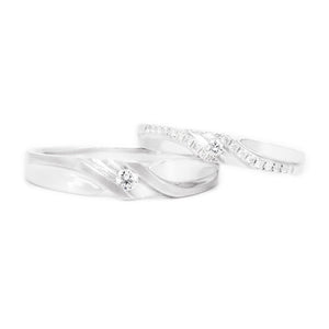 "18 carat white-gold Signature ""Cherish"" wedding band set"