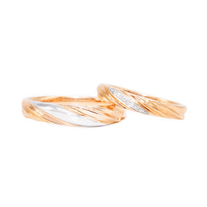 18 carat rose-gold w/white gold intertwined wedding band set