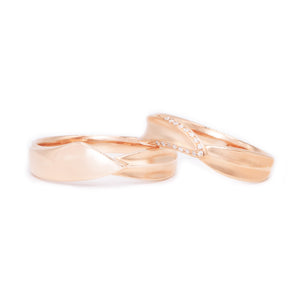 "18 carat Rose gold Signature ""Cupid"" wedding band set"