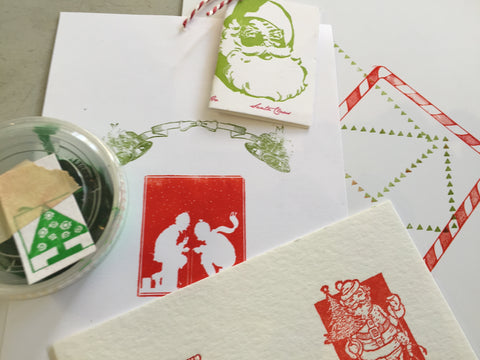 holiday card making and mixed media print workshops