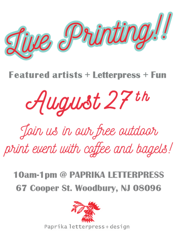 letterpress,paprika,open house,free,coffee