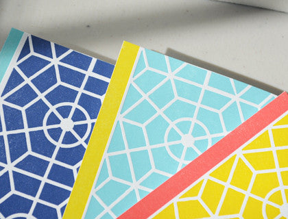 Color Blocked Lattice Notecards