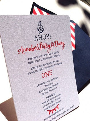 Ahoy! It is a nautical baby birthday invitation!