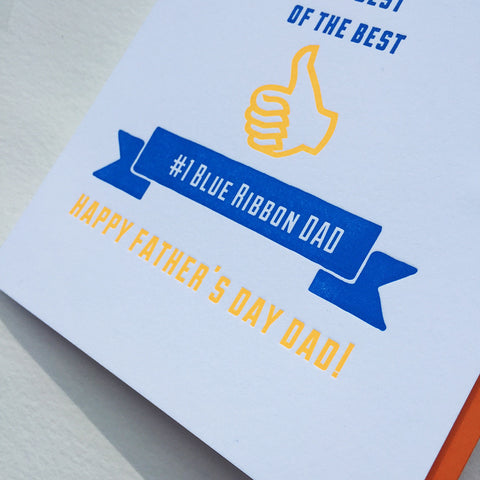 Number one blue ribbon dad greeting card