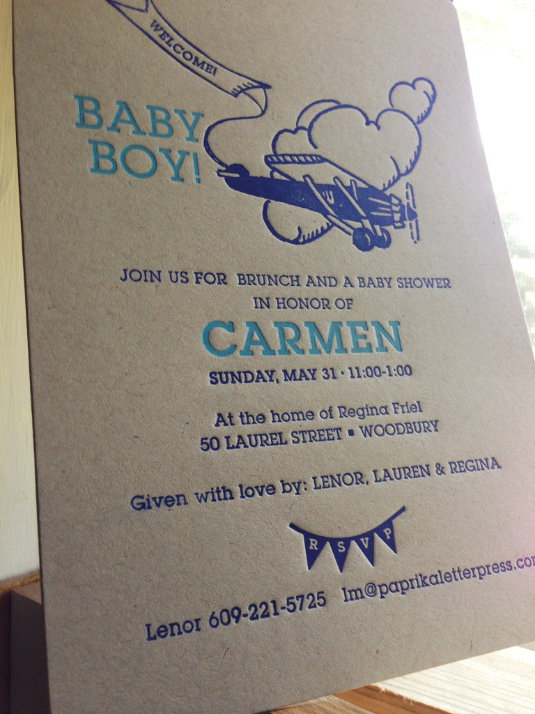 Welcome baby with flying plane shower invitation – Paprika letterpress