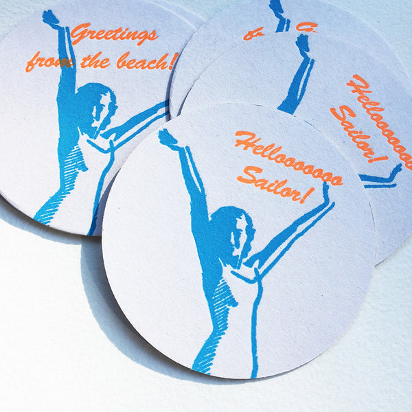 Graphic Coasters -Beach vintage graphics