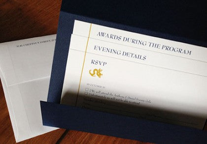 Drexel University letterpress printed Gala Invitation