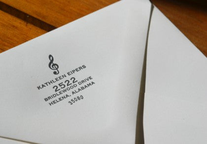Personal letterpress notecard for a musician