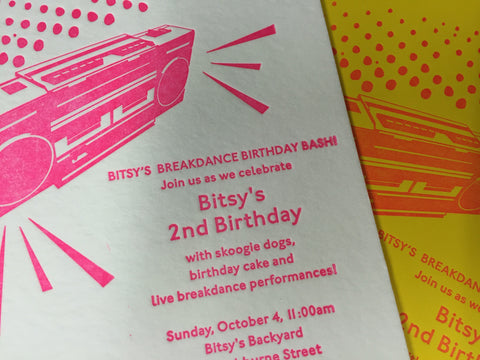 Children's letterpress Birthday invite