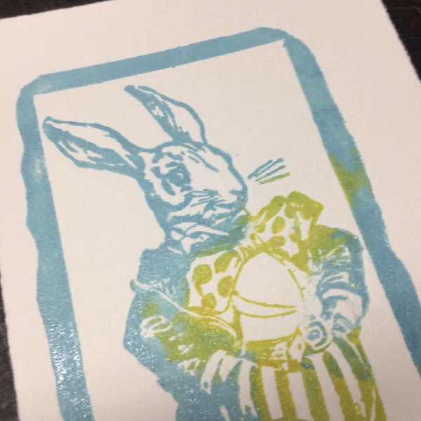 Rabbit letterpress print
