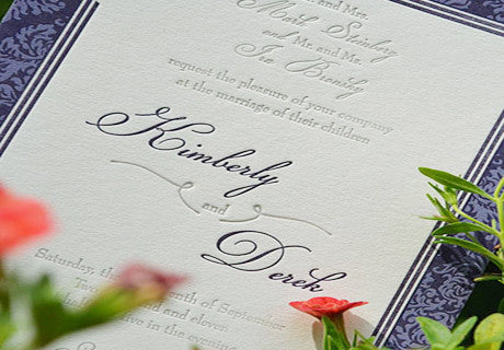 Elegant Letterpress Wedding Invitation
