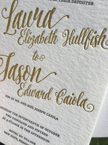 Hand lettered wedding invitation