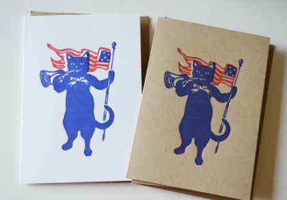 Vintage Patriotic Cats waving the flag!