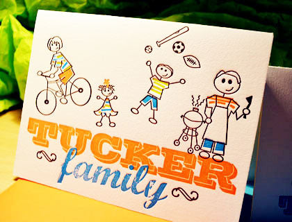 Custom designed family letterpress notecards