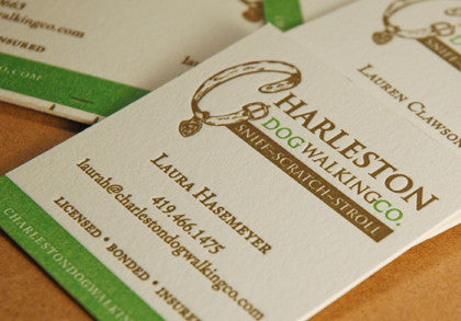Charleston Dog Walking Company letterpress business cards