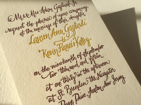 Elegant hand calligraphied wedding suite