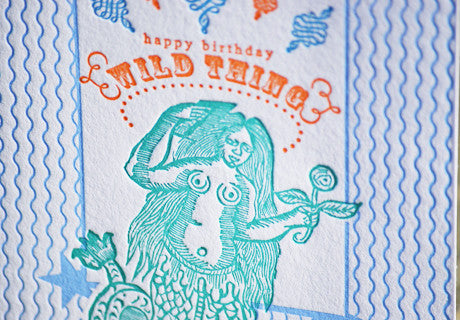 Happy Birthday Wild Thing letterpress greeting card