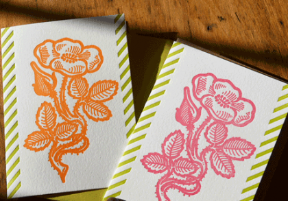 Block-woodcut flower series notecards