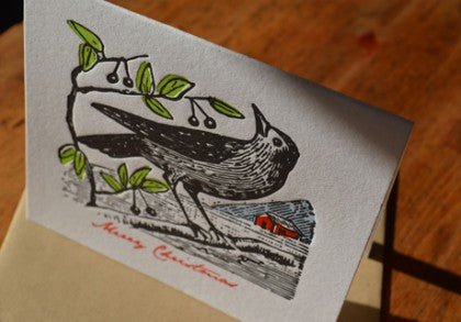 Merry Christmas Woodcut Bird