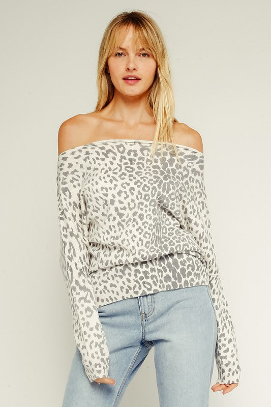 White Leopard OTS Sweater