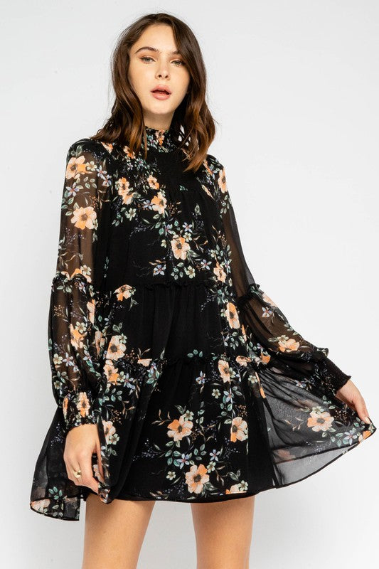 Sweet Pea Black Floral Dress