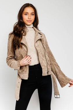 Mission District Faux Suede Belted Jacket