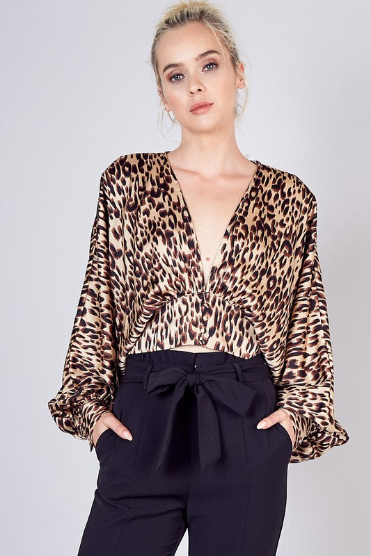 Saylor Leopard Cropped Blouse