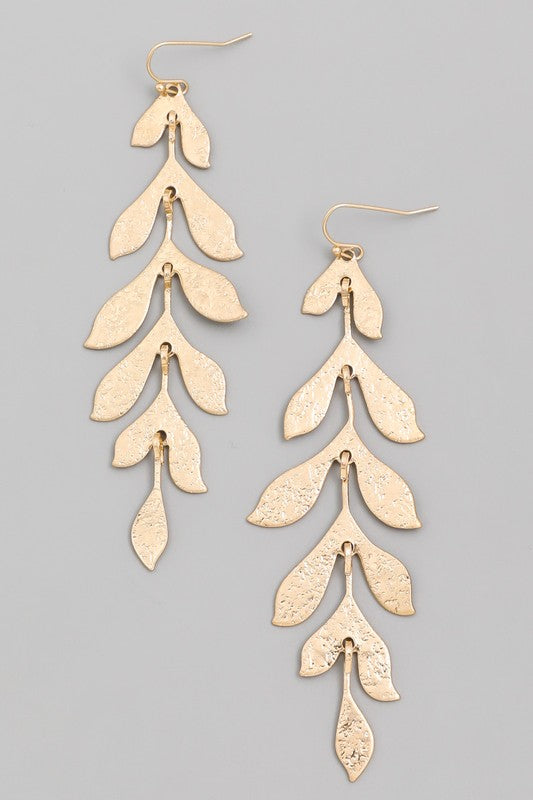 Leaf Drop Earring - Silver