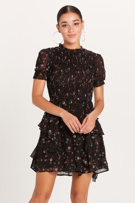 Black Berry Smocked Dress