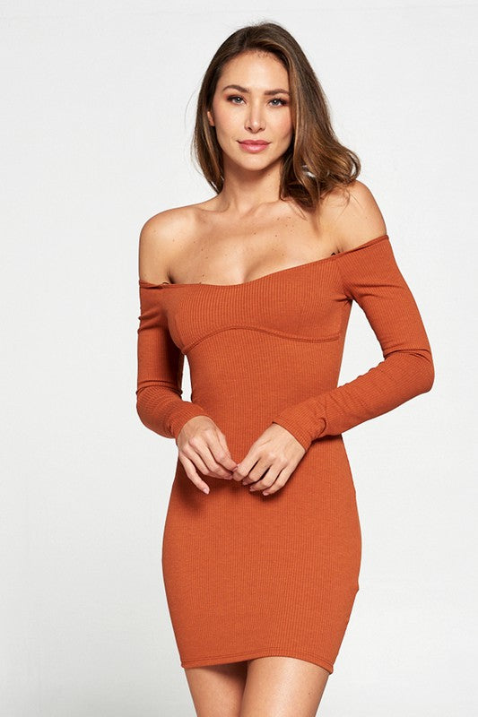 Summer Rust Off The Shoulder Dress