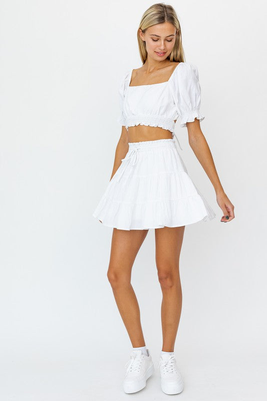 Smocked Waist Flare Skirt - White