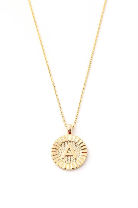 Initial Letter Disc Charm Necklace