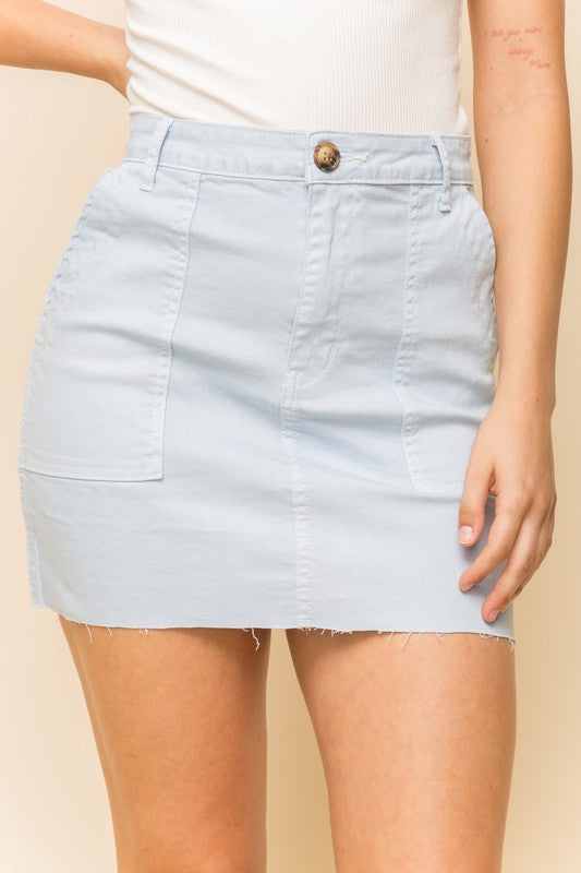 Raw Edge Twill Skirt