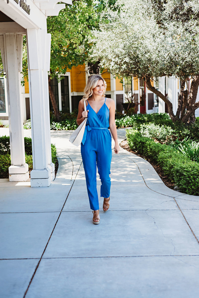 Bel-Air Tie Waist Chambray Jumpsuit
