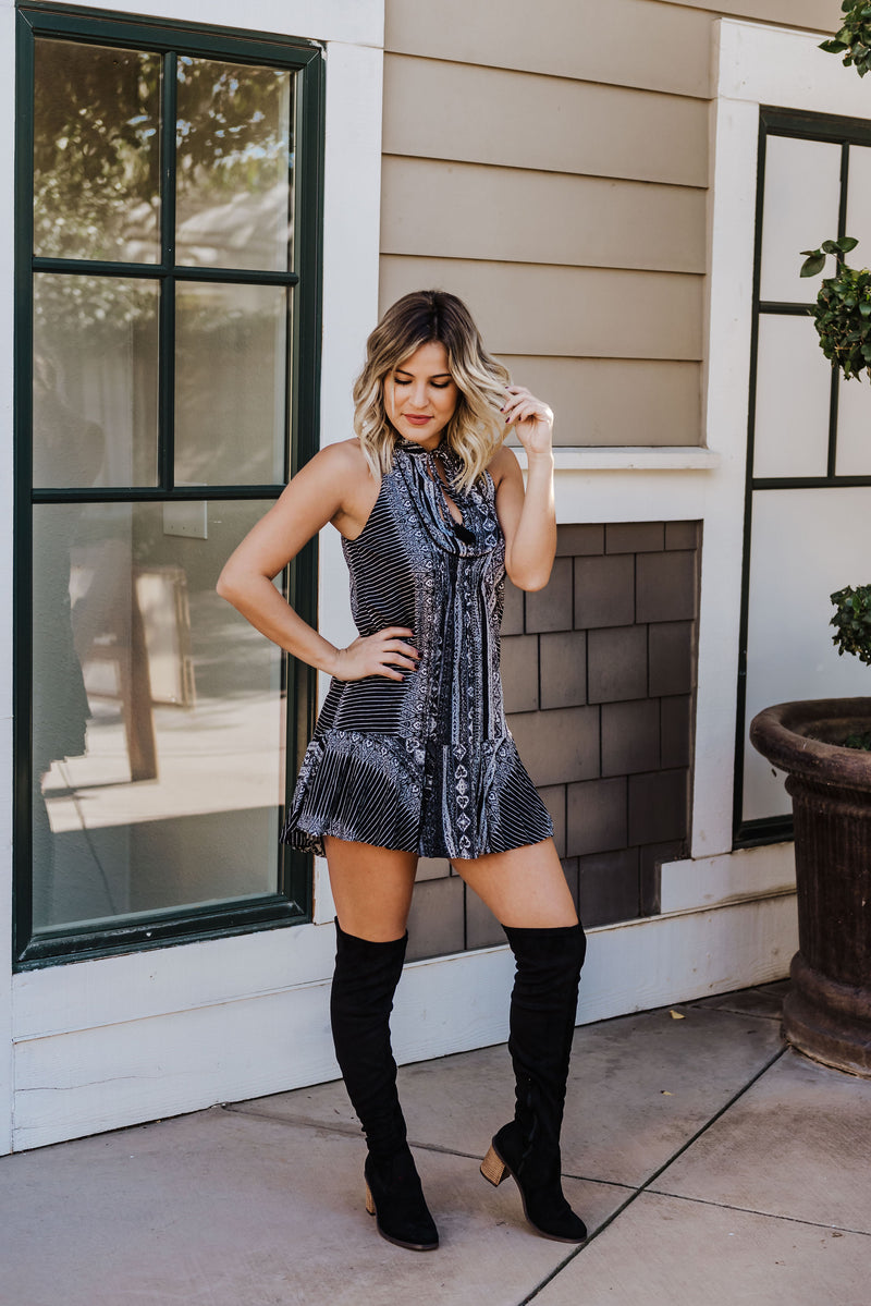 Black Boho Border Dress