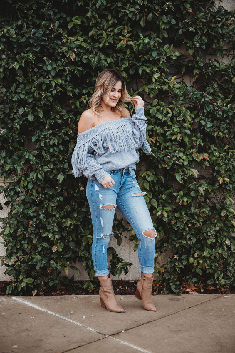 Fringe Grey OTS Sweater