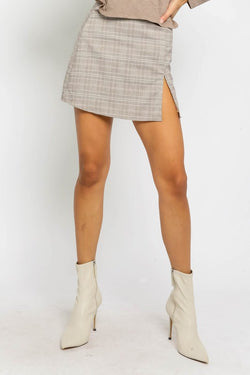 Plaid Slit Mini Skirt