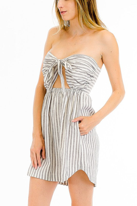 Striped Linen Sweetheart Dress