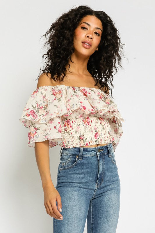 Pink Floral OTS Top
