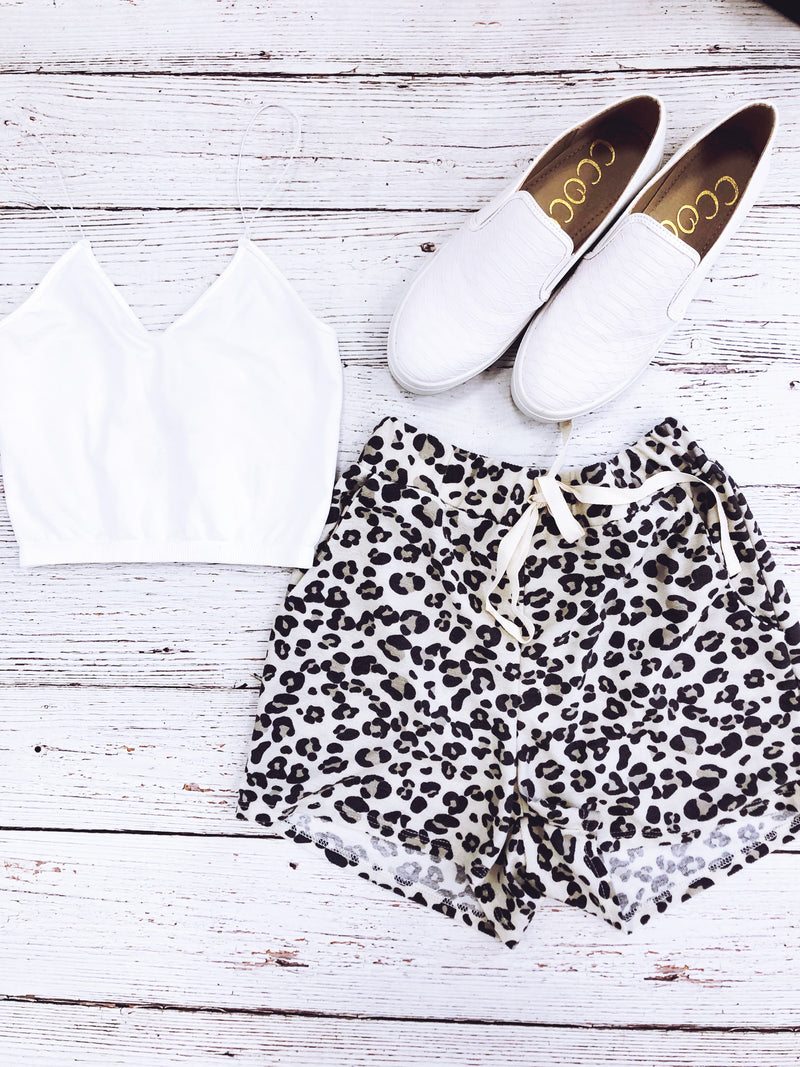 Leopard Terry Shorts
