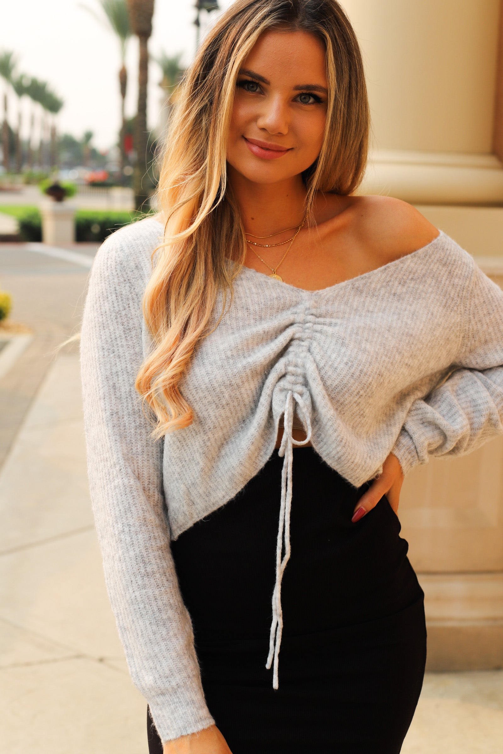 Drawstring Cropped Sweater - Grey