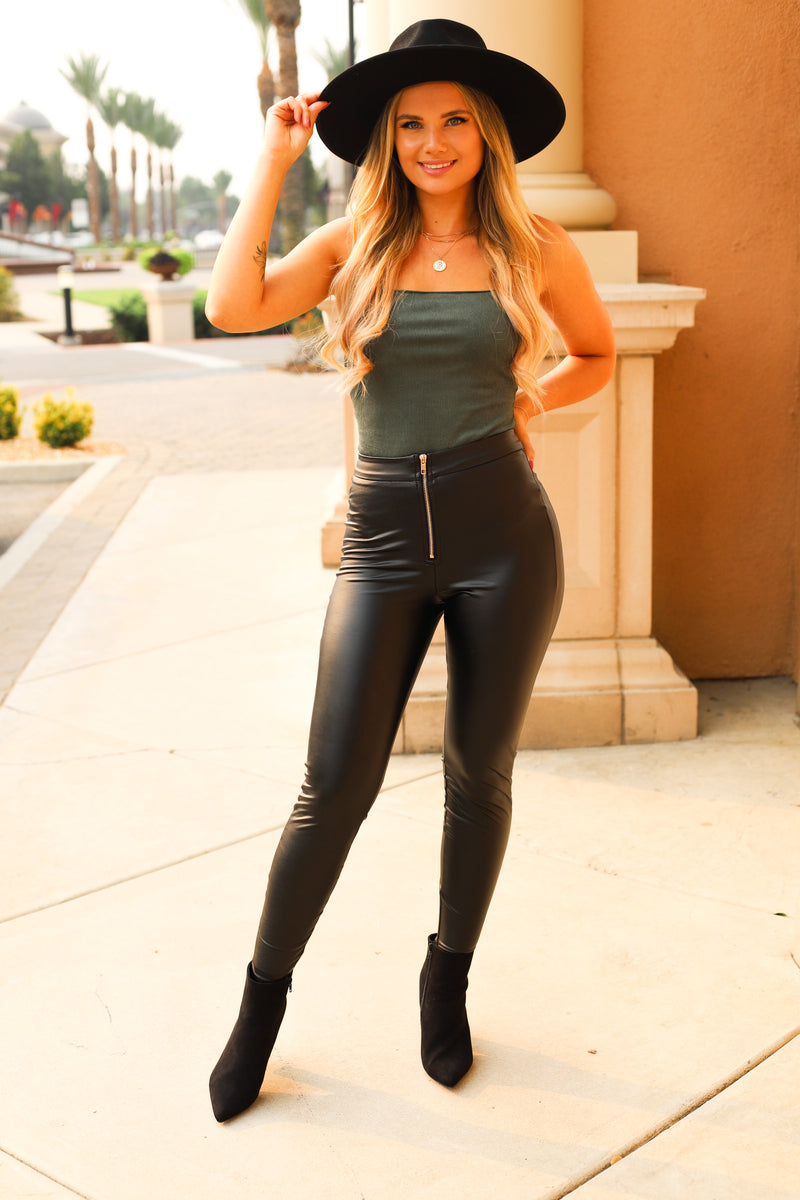 North Faux Leather Leggings