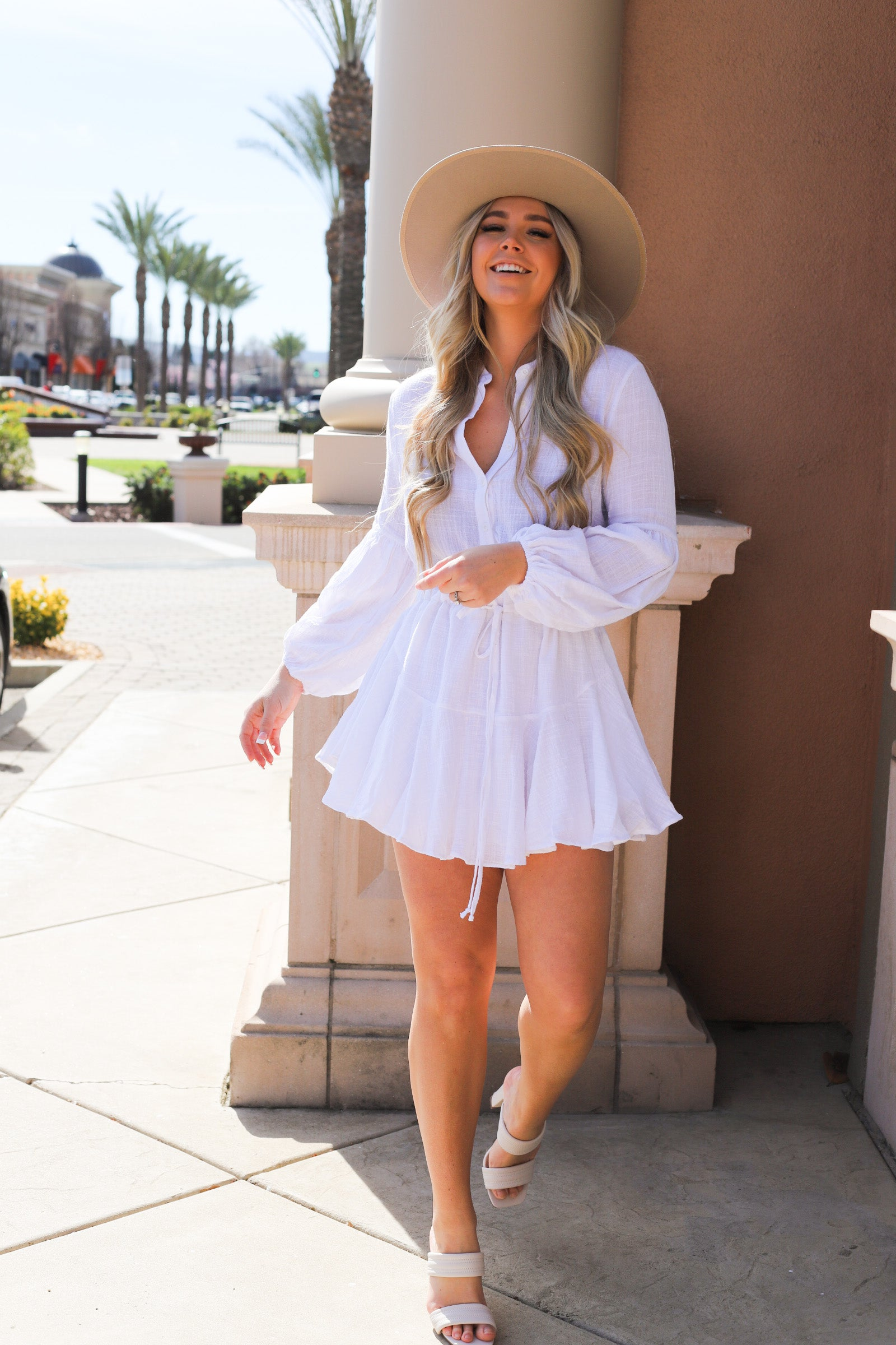 Gauze Drawstring Dress