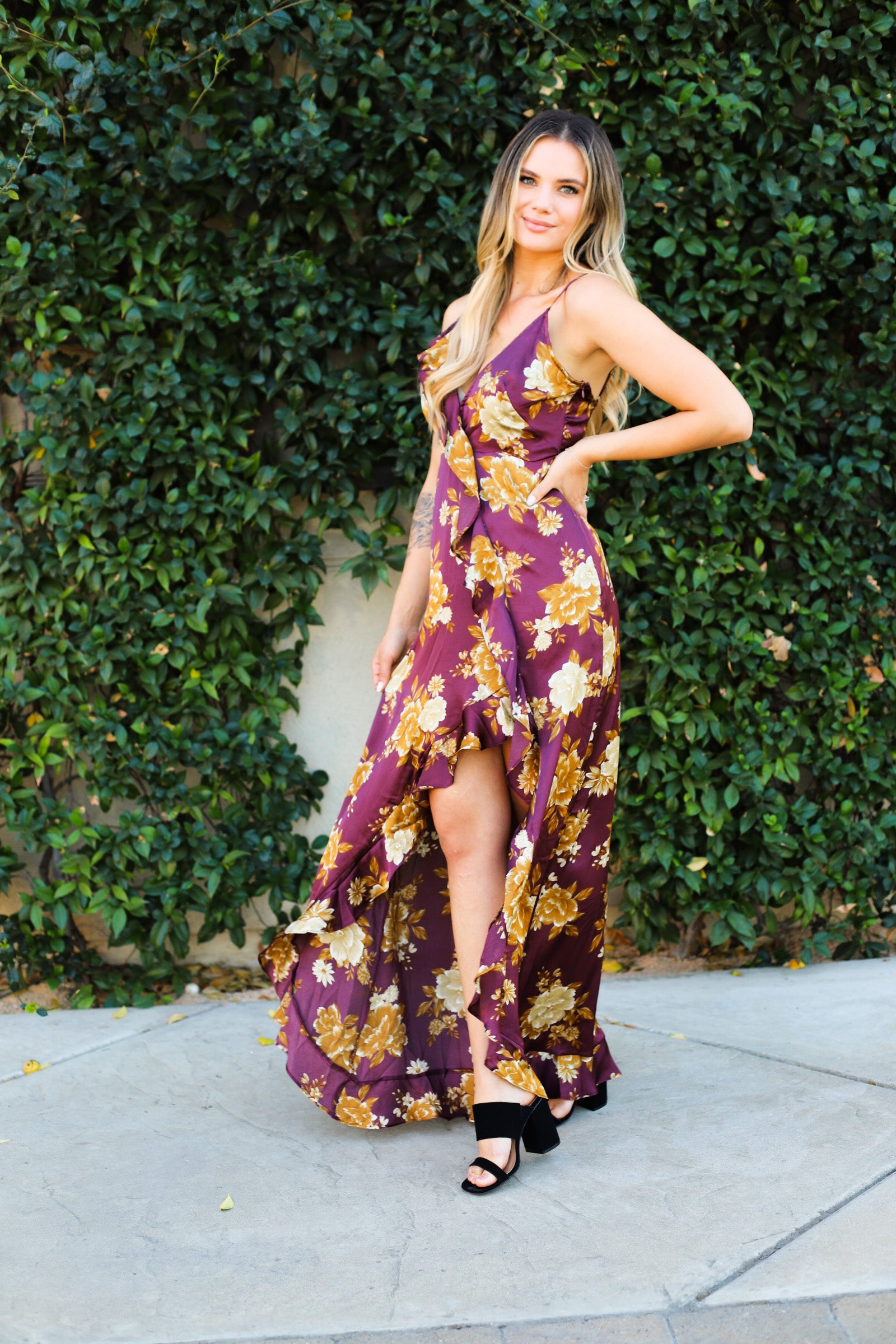 Golden Hour Floral Ruffle Maxi