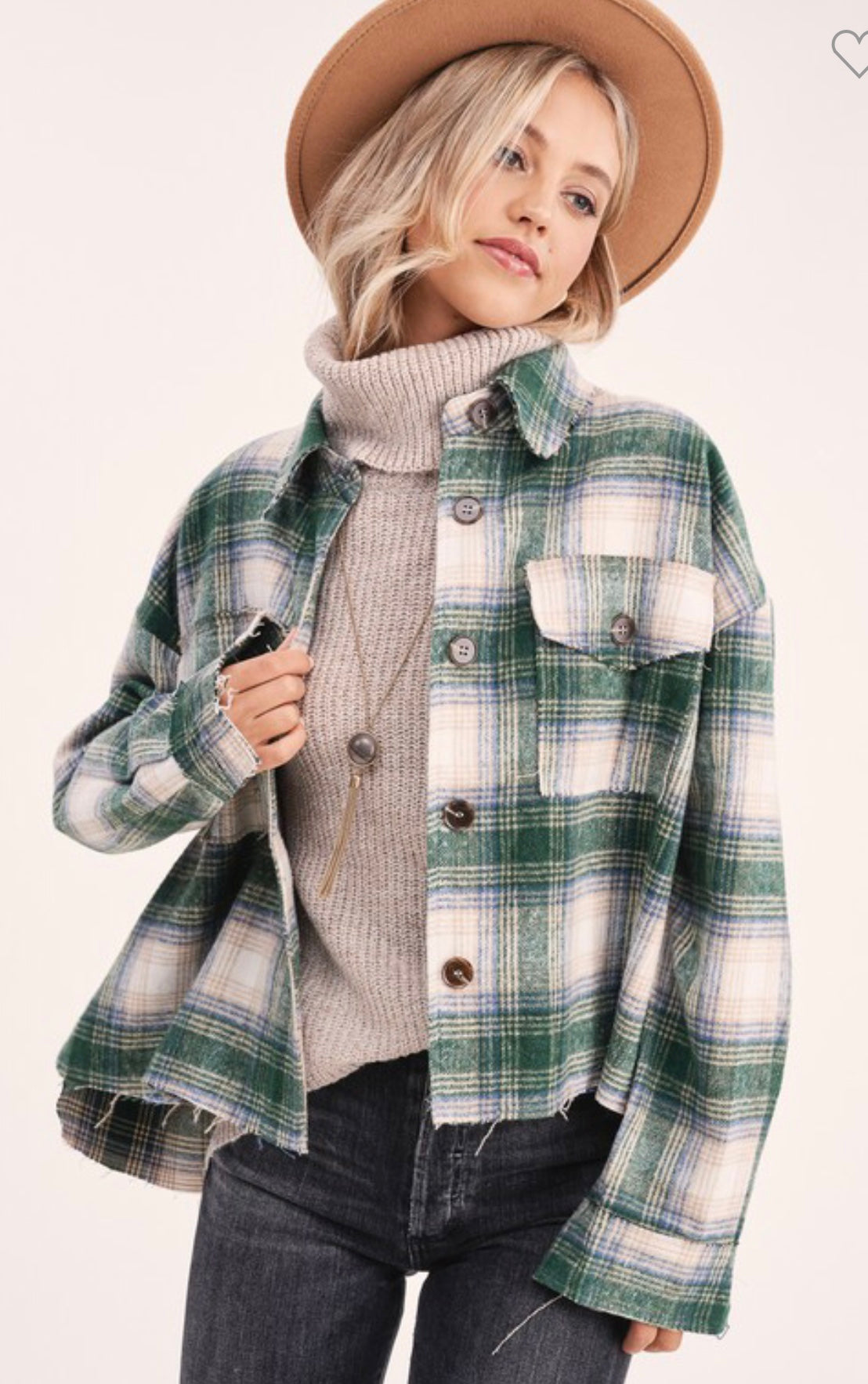 Cropped Plaid Jacket