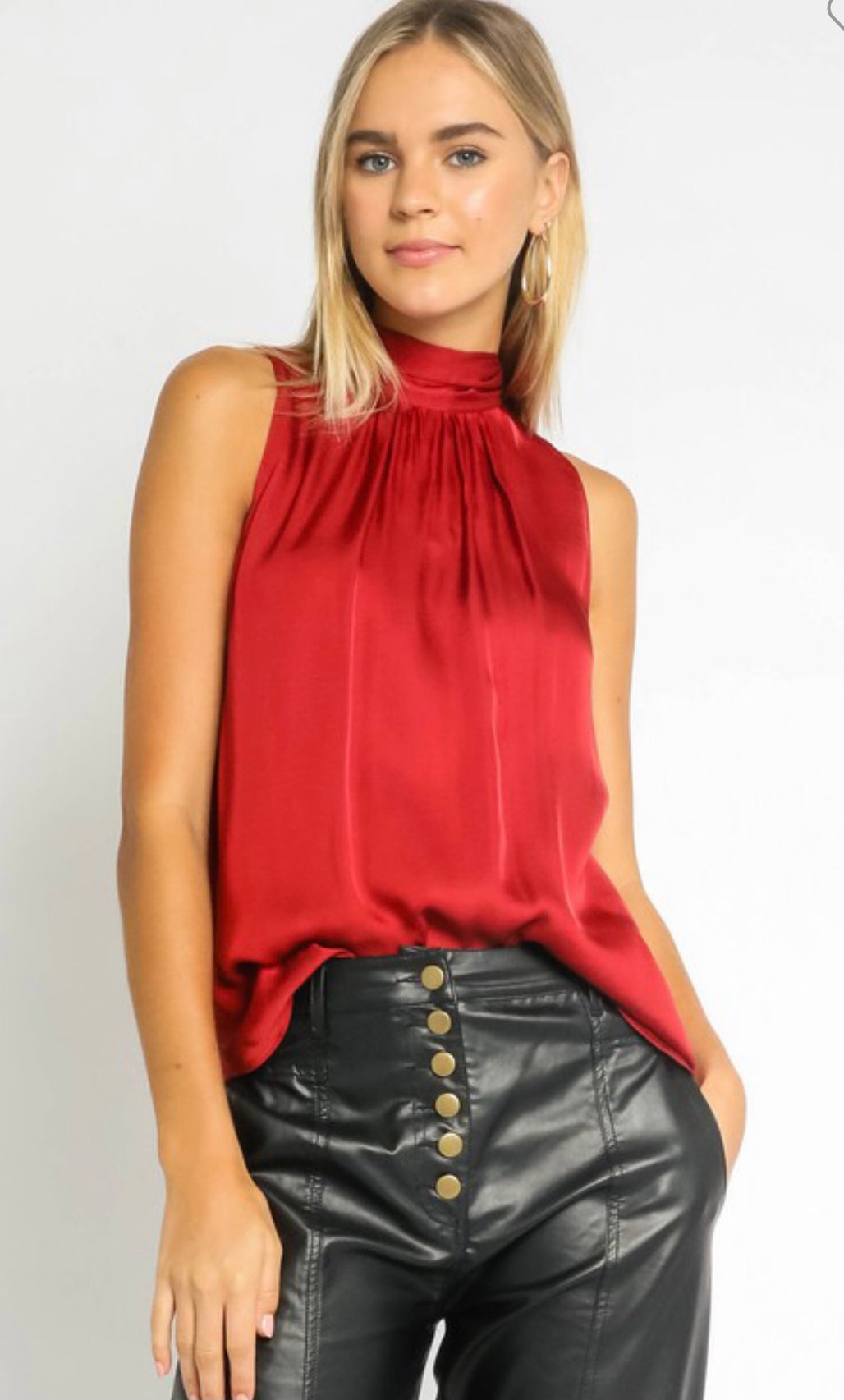 Sivan Satin Mock Neck Tank