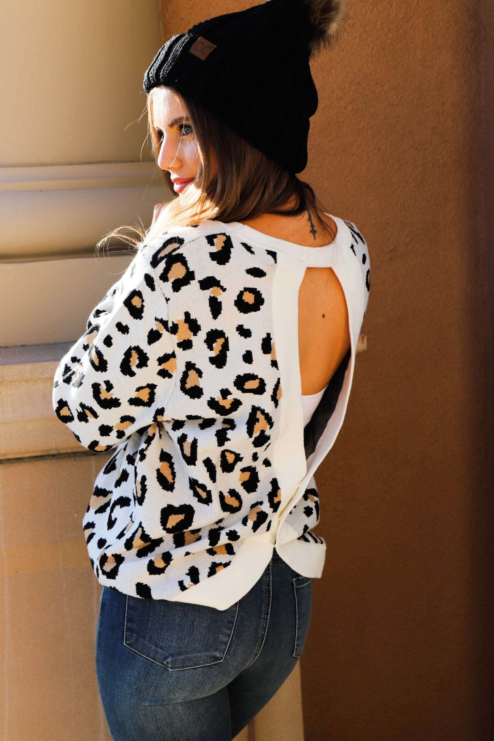 Open Back Leopard Pullover