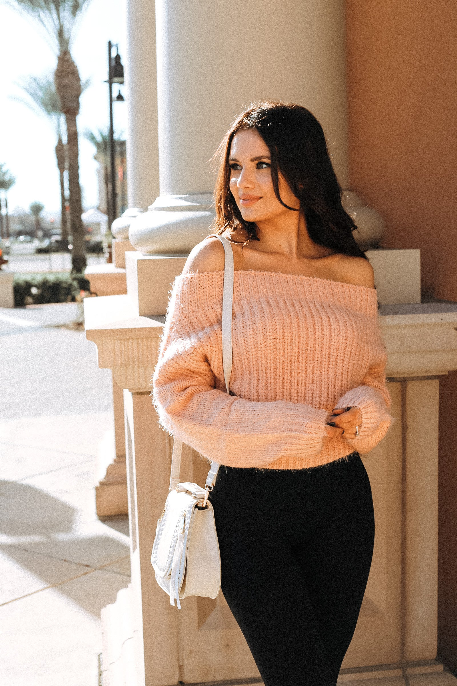 Gretchen Off The Shoulder Fuzzy Sweater