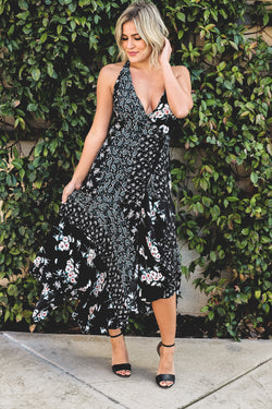 Black Paisley Wrap Dress